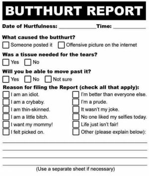 Image result for butt hurt report